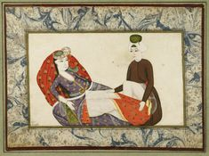 An Illuminated Ottoman Miniature Signed by 'Abdullah Bukhari, Turkey, circa 1740 gouache heightened with gold on paper, depicting a lady reclining against a red cushion deocrated with floral sprays, the man kneeling in brown robes, signed at lower left, set within ebru borders ruled in gold Leaf: 16 by 22cm. Painting: 10.5 by 17.2cm.