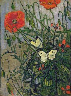 Vincent van Gogh - Amapolas y mariposas, 1890
