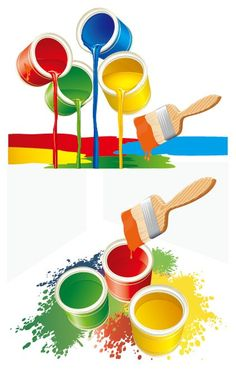 Colorful Paint Bucket Vector Graphics