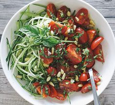 Zucchini Noodles with Basil [ SkinnyFoxDetox.com ] #food #skinny #health  - Click Pic for 38 Easy Healthy Dinner Recipes
