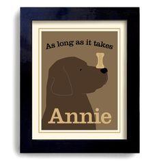Labrador Retriever Chocolate Dog Art Print Personalized by DexMex, $18.00