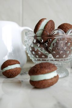 Chocolate and mint sandwich cookies