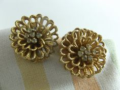 Coro Earrings Flowers with Crystal Centers Clipon by acornabbey