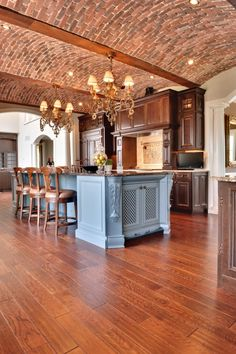 74 Fantastic Kitchens With Brick Walls and Ceilings: 74 Fantastic Kitchens With Brick Walls And Ceilings With Brick Kitchen Ceiling And Wooden Stools And Marble Countertop Layout Design, Ux Design, House Design, Design Ideas, Interior Design, Face Design, Interior Modern, Beautiful Kitchens, Cool Kitchens
