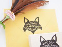 Fox Return Address Stamp by nativebear on Etsy. Oh yes!