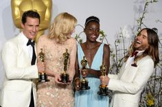 Best actor Matthew McConaughey, best actress Cate Blanchett, best supporting actress Lupita Nyongo, and best supporting actor Jared Leto pose in the press during the Academy Awards Matthew Mcconaughey, Steve Mcqueen, Cate Blanchett, Jared Leto, Best Actress, Best Actor, Brad Pitt, Jennifer Lawrence Fall, Dallas Buyers Club