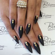 simple black stiletto nails