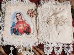 Catholic Rosary Keeper lace album lace collage by MyIrishGypsy