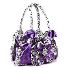 Handbags, Bling & More! Purple Leopard Flower Rhinestone Fashion Handbag W Matching Wallet : Flower Purse Sets
