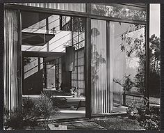Citation: The Eames House, exterior view, ca. 1950 / unidentified photographer. Aline and Eero Saarinen papers, Archives of American Art, Smithsonian Institution.