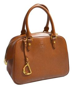 d6e102c93a Ralph Lauren Leather Sloan Street Dome Satchel Tote Bag Handbag Purse Tan