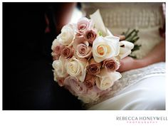 Jenny's bridal bouquet - very soft and gentle for a dull November day. Photo by Rebecca Honeywell at Goldsborough Hall