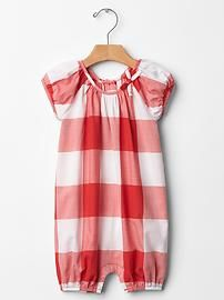 Gingham bow one-piece