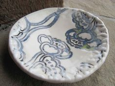 Ceramic Trinket Dish in White Porcelain Stamped with by liciapfadt, $24.00