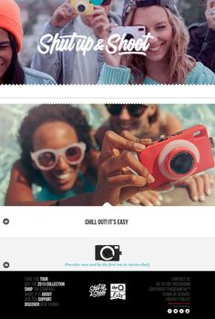 The Q social camera website - Simple + Parallax. Beautiful lettering, typography, and photography