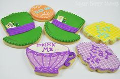 Alice in Wonderland Eat Me - Tea Party - Mad Hatter Cookies - 1/2 Dozen - cute decorated colorful fun sugar cookies - Disney - Hat -Tea Cup