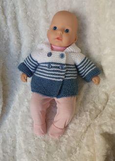 Ravelry: Baby Annabell gs jacket pattern by linda Mary Baby Boy Knitting Patterns Free, Crochet Applique Patterns Free, Knitted Doll Patterns, Knitted Dolls, Baby Patterns, Free Knitting, Knitted Gifts, Crochet Dolls, Knitting Dolls Clothes
