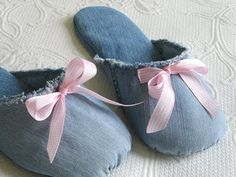 home slippers made with old jeans