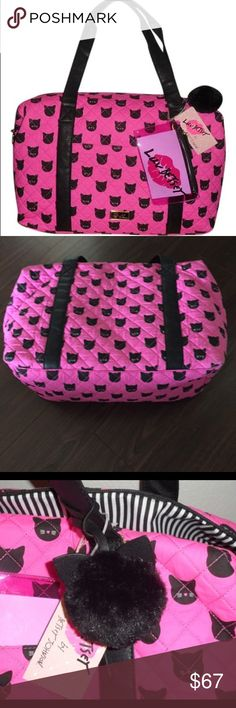 NWT Kitty Travel Bag Betsy Johnson MEOW! You'll be hitting the road with purr-fect style with this Pink and Black Betsy Johnson Travel Overnight Bag with Black Fuzzy Pom Pom! Dimensions: 18''L x 14''H x 8.5''W Betsey Johnson Bags Travel Bags