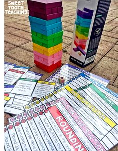 know my kiddos LOVED this Jenga game during our test prep season! I was just sitting here and realized this is such a fun summer game as Fourth Grade Math, 4th Grade Math Games, Rounding 3rd Grade, Rounding Activities, Number Activities, Math Classroom, Classroom Ideas, Future Classroom, Classroom Freebies