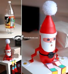 A cute Santa project using a plastic bottle.