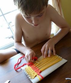 Easy peasy weaving this weekend.   (even for boys)
