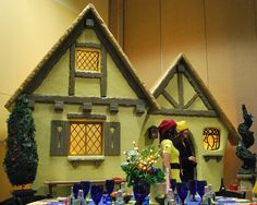 Idea for a Christmas fairy tale village.  This is made out of foam, but you could cut out a smaller version of plywood and paint the design.