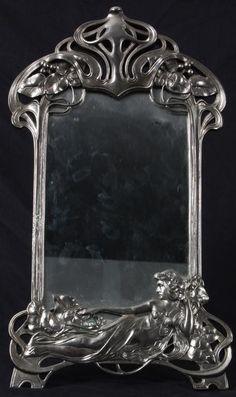 ~Art Nouveau Mirror~ Mirror Wall Art, Wall Art Decor, Mirror Mirror, Fancy Mirrors, Antique Windows, Art Nouveau Design, Beautiful Mirrors, Belle Epoque, Art And Architecture