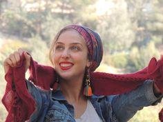 Lovely Blue Ethnic Sinar Tichel Hair Snood by SaraAttaliDesign