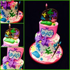 I hope you enjoy these amazing ARTIST CAKE ideas. Art Birthday Cake, Artist Birthday, 7th Birthday Party Ideas, 9th Birthday, Painter Cake, Artist Cake, Cake Painting, Pumpkin Painting, Art Party Cakes