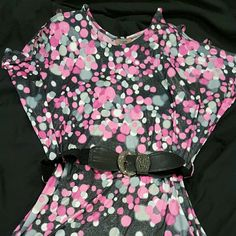 Top Hot pink,Grey & Black, cool shoulder see 4 pic Top Hot Pink,Grey & Black,cool shoulder w/ 3 stripes.  60s  style,Brand new only one time used!with Black belt. Ideal with loggings 92% Polyester  8% spandex La Escala USA Tops Blouses