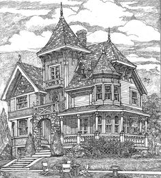Plan Richly Detailed Exclusive Victorian House Plan Richly detailed both inside and out, this Victorian house plan (exclusive to Architectural Designs) has clipped roof lines at each end and a spacious wrap-around porch.Spires and scalloped shakes Victorian House Plans, Vintage House Plans, Old Victorian Houses, Victorian House Interiors, Victorian Buildings, Victorian Design, Victorian Architecture, Architecture Design, Built In Desk