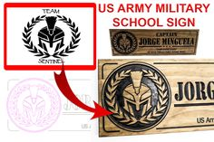 US Military Police School Project Military Signs, Military Police, Black And White Logos, Custom Wooden Signs, Farm Signs, Us Marine Corps, School Signs, Dark Walnut Stain, Custom Logos
