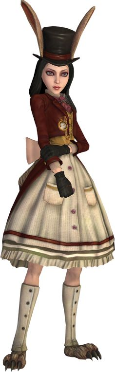 The Late but Lucky dress is one of Alice Liddell's outfits available as DLC. It is influenced by the White Rabbit and the dress' in-game effect is the imbued power of the Shrinking Violets that constantly regenerated her health. Her irises turned a light shade of purple and her black hair adopted a grayish-black hue.