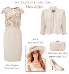 Phase Eight Spring Mother of the Bride Outfit cameo pink Juno Dress and Jacket. Complete wedding guest outfits. Two part lace layered shift dress matching jacket, shoes, bag and hat.