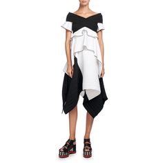 Proenza Schouler Off-the-Shoulder Crisscross Blouse (82.405 RUB) ❤ liked on Polyvore featuring tops, blouses, multi, peplum tops, criss-cross front tops, white off the shoulder top, ruffle sleeve blouse and short-sleeve blouse