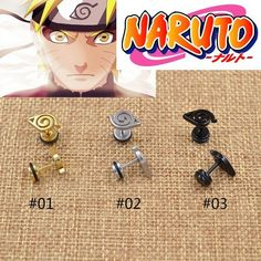 Naruto Stud Womens Anime Earrings 3 Colors