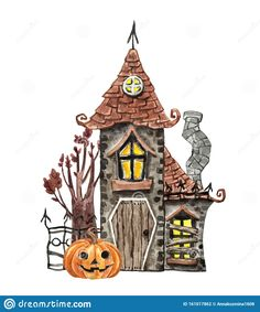 Watercolor Spooky House, Jack O Lantern Pumpkin, Old Tree, Isolated. Halloween Party Stock Illustration - Illustration of halloween, card: 161017862 Haunted House Drawing, Tree House Drawing, Halloween Illustration, House Illustration, Spooky House, Halloween House, Halloween Painting, Halloween Art, Horse Tattoo Design