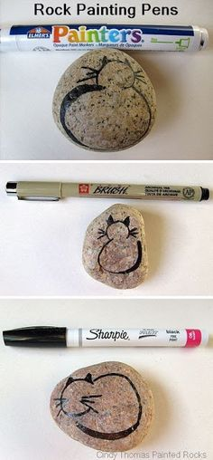 Painting Rock & Stone Animals, Nativity Sets & More: Rock Painting Tips: If you are away and have no paint or pens, burn a stick and use the charcoal ends. Or if you have planned ahead -- use Paint Pens Instead of a Brush for Detailing Pebble Painting, Pebble Art, Painting Tips, Stone Painting, Rock Painting, Stone Crafts, Rock Crafts, Arts And Crafts, Diy Crafts