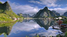 Norwegia, jezioro, Góra, pensjonat wektor