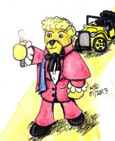 The Whovian quest continues! Tonight it is the turn of the Third Doctor played by Jon Pertwee in the 1970 TV season of Doctor Who. The Third Doctor was filmed in color and to reflect this the color palette has changed from gray to technicolor. My third Cuddly Doctor was finished in black ink, watercolor and some charcoal pencil.