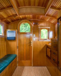 Russ Pryor lives in a log cabin on a timber farm outside Seattle. When he needed a bit of extra space for occasional guests he decided to build the gypsy . Read moreGypsy Wagon Shows Off Seriously Gorgeous Woodworking Skills Gypsy Trailer, Tiny House Trailer, Tyni House, Tiny House Living, Gypsy Caravan Interiors, Gypsy Wagon Interior, Gypsy Home, Tiny Spaces, Tiny House Design