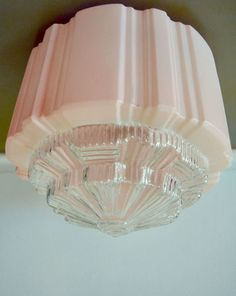 Stunning ART Deco Ceiling Light Shade 40s Vintage Pink Depression Glass ART   eBay  I have one sort of like this.