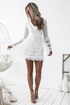 A-Line V-Neck Long Bell Sleeves Criss-Cross Straps Short White Lace Homecoming Dress Long Sleeve Homecoming Dresses, Burgundy Homecoming Dresses, Hoco Dresses, Sexy Dresses, Evening Dresses, Fashion Dresses, Short White Dresses, Ladies Dresses, Wedding Dresses
