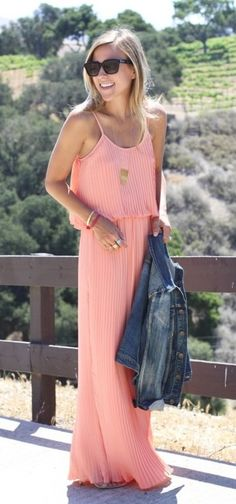 #summer #woman #fashion #coral #maxi #dress
