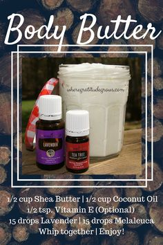 DIY Body Butter with Young Living essential oils. For more tips, recipes and essential oil information visit wheregratitudegrows.com.