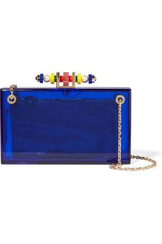 Royal-blue Perspex Magnetic fastening at top Comes with gold canvas pouch Comes with dust bag Made in Italy