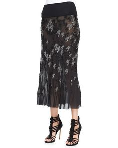 Crystal Houndstooth-Embroidered Midi Skirt by Donna Karan at Neiman Marcus.
