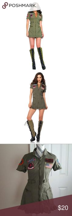 Leg Avenue Top Gun Flight Dress Halloween Costume Worn once for Halloween, in new condition! Top Gun inspired dress. Boots not included Dress: 100 percent polyester Care: hand wash cold, do not bleach, drip dry and iron on low temperature Sizing: Women . Just the costume you need for Halloween, parties, plays, and other fun holiday productions and festivities! Dresses