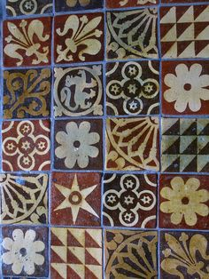 Fascinating medieval tiles on the floor in Winchester Cathedral ~ ideas for a floor cloth? Medieval Pattern, Medieval Art, Antique Tiles, Vintage Tile, Clay Tiles, Mosaic Tiles, Art Ancien, Floor Cloth, Encaustic Tile